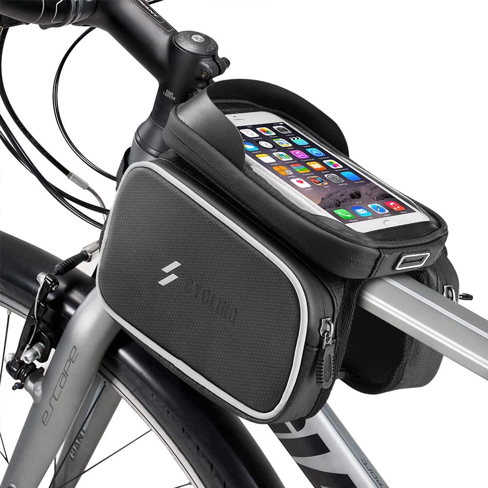 Waterproof Bicycle Top Tube Pouch Cell Bike Frame Bag with Mobile Phone Holder