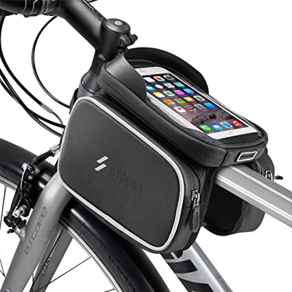 Bike Front Frame Bag Waterproof EVA TPU Bike Bag Cellphone Below 6.5Inch