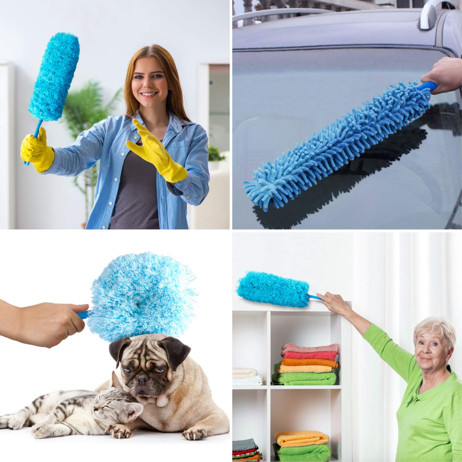 4pcs Best Microfiber Duster with Extension Pole | Large Fluffy Microfiber Cobweb Duster, Extra Large Microfiber Feather Duster, Flexible Microfiber Ceiling & Fan Duster | 4-Foot Telescopic Pole by SKA HomeStore (Image #7)