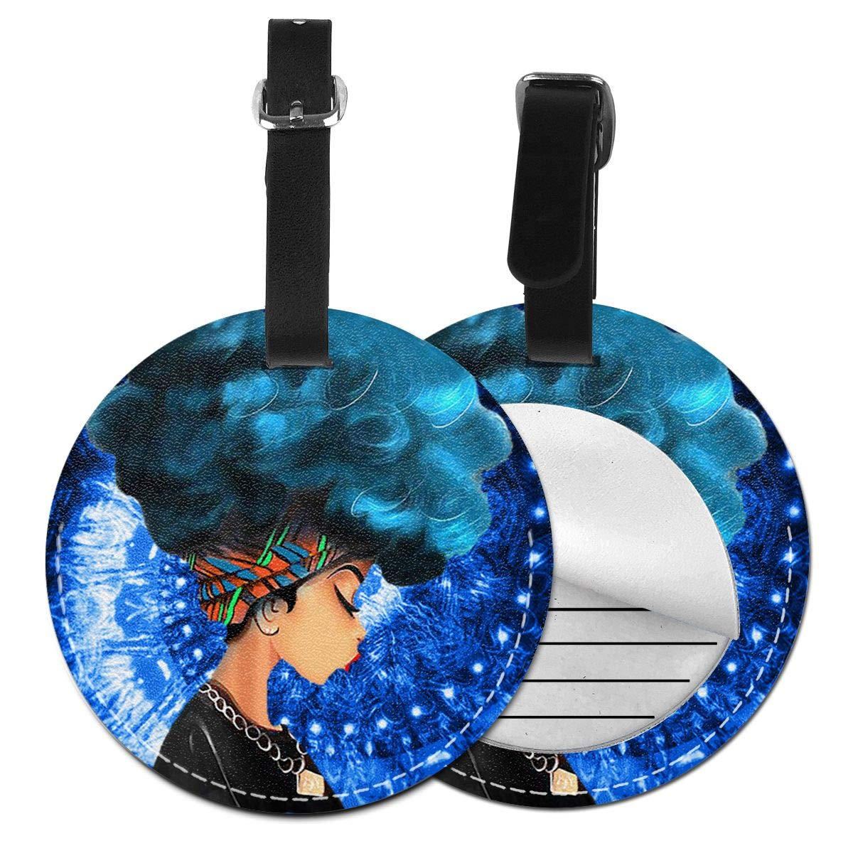 Free-2 Afro Girl African American Luggage Tag 3D Print Leather Travel Bag ID Card
