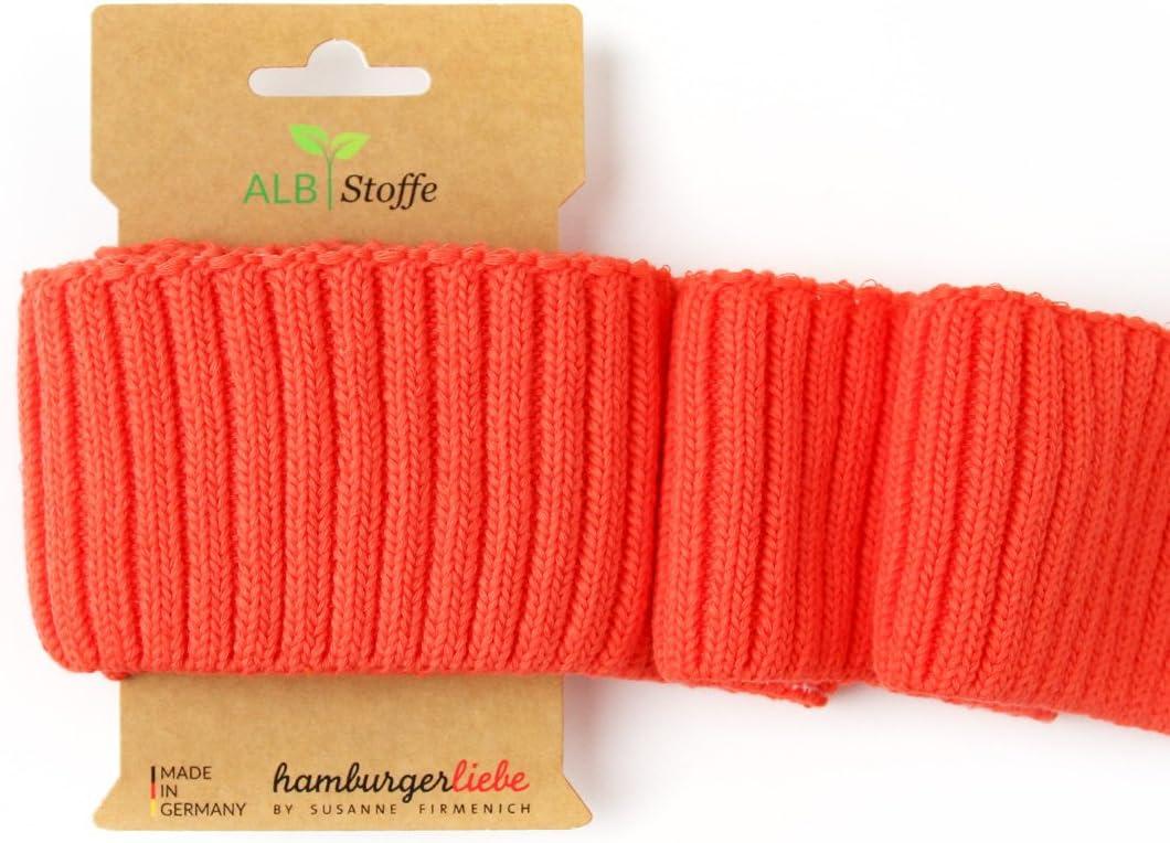 Albstoffe Cuff Me Cozy Luce Rosso A78 – Puños acabados en naranja y rojo – Hamburgo Love This Summer – Unicolor liso