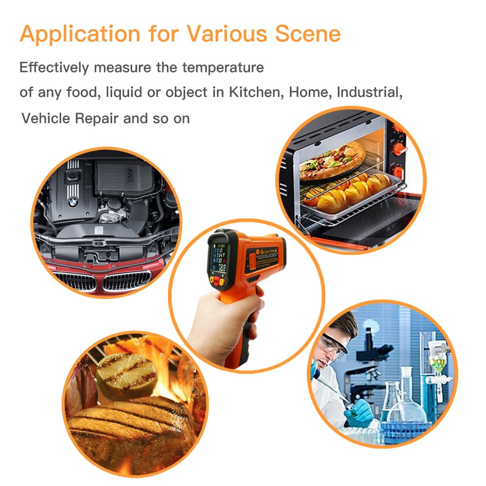 Digital Laser Infrared Thermometer,ZOTO Non Contact Temperature Gun Instant-read -58 ℉to 1472℉with LED Display K-Type Thermocouple for Kitchen Cooking BBQ Automotive and Industrial PM6530D Thermometer by ZOTO (Image #5)