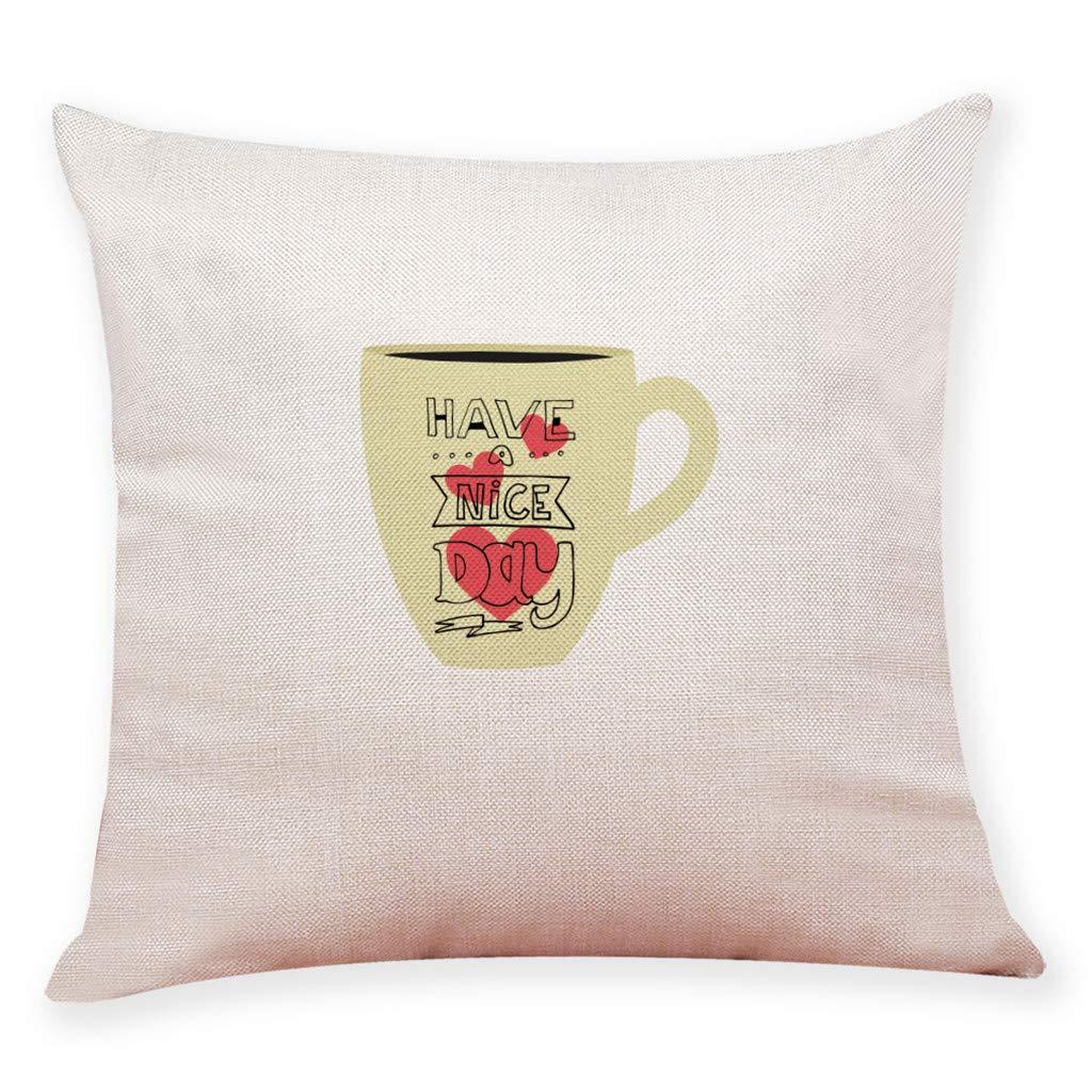 HIKO23 Cotton Linen Throw Pillow Case, Have A Nice Day Home Decor Housewarming Gift Cushion Cover,Tea Cup