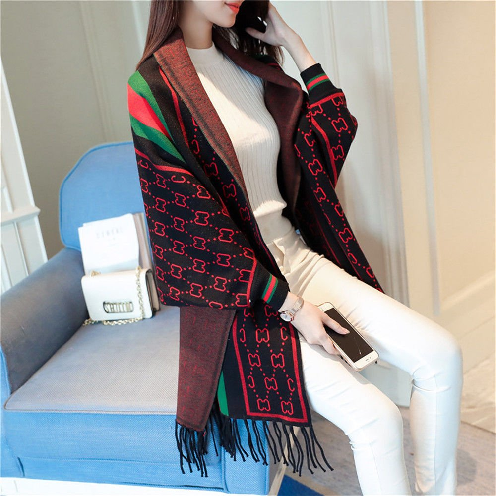 Black ZHANGYONG Autumn Dress Striped Long Knitting Fringed Hem AllMatch Loose Shawl,F,Beige