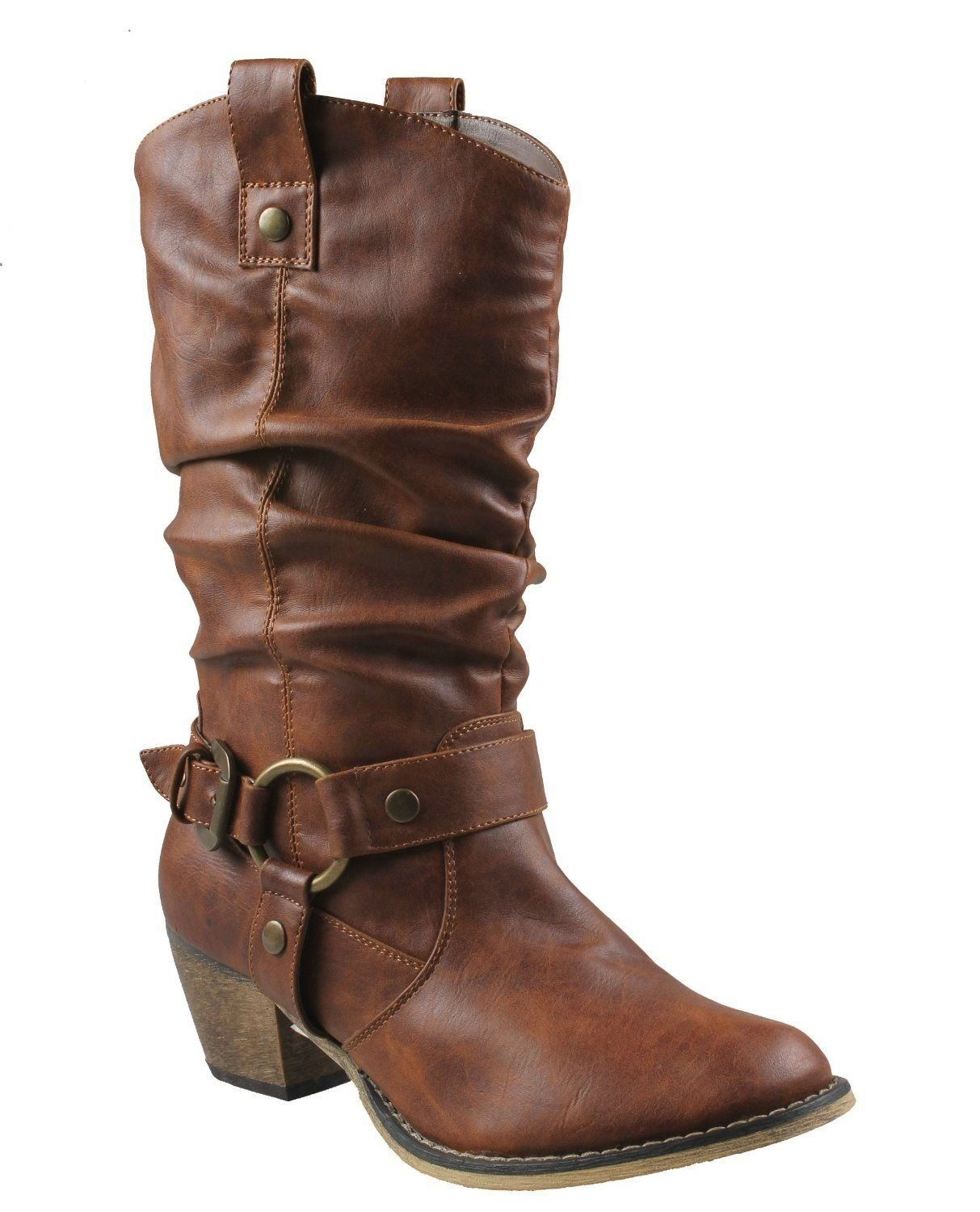 Women's Mid Calf Cowboy Boots Distressed Slouchy O-Ring Studded Pull on Block Heel Riding Boots Tan 7