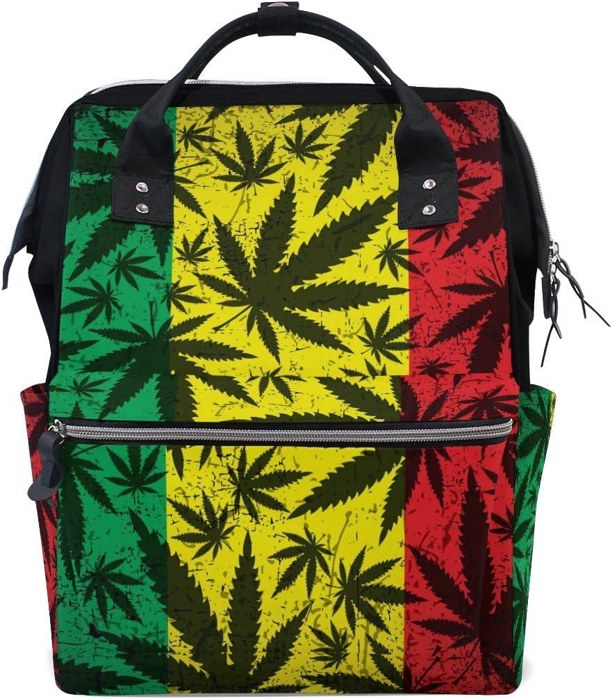 TIZORAX Mochila de pañales con diseño de hojas de cannabis sobre la abeja de la bandera de Rastafari, gran capacidad, multifunción, para pañales, viajes, mamá, mochila para el cuidado del bebé