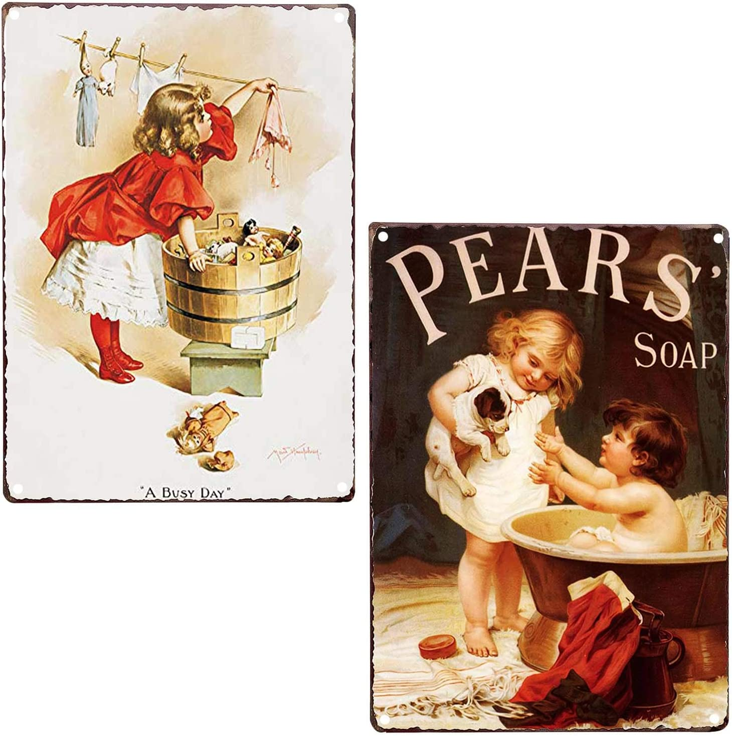 LIPTOR Novelty Girl Washing Clothes Pears Soap Vintage Bath Bathroom Laundry Room Decor Country Wall Home Decor Art Signs 2Pcs-8X12Inch