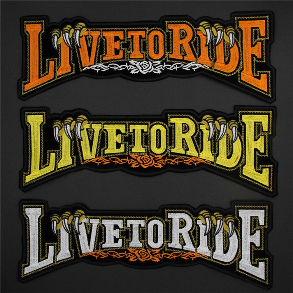 Bella Patch pour Auto et Moto Brod/é Patch /à Repasser ou /à Coudre Applique Appliqu/és Broderie Live to Ride Biker Patch pour Blouson Veste et Gilet Uniforme