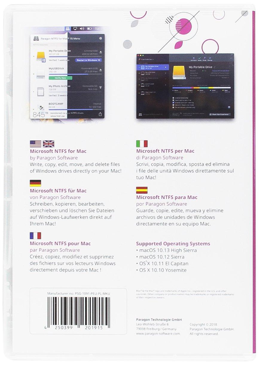 Microsoft NTFS for Mac by Paragon Software (italiano, español, Inglés, francés, alemán) Acceso completo de lectura y escritura garantizado: Amazon.es: ...