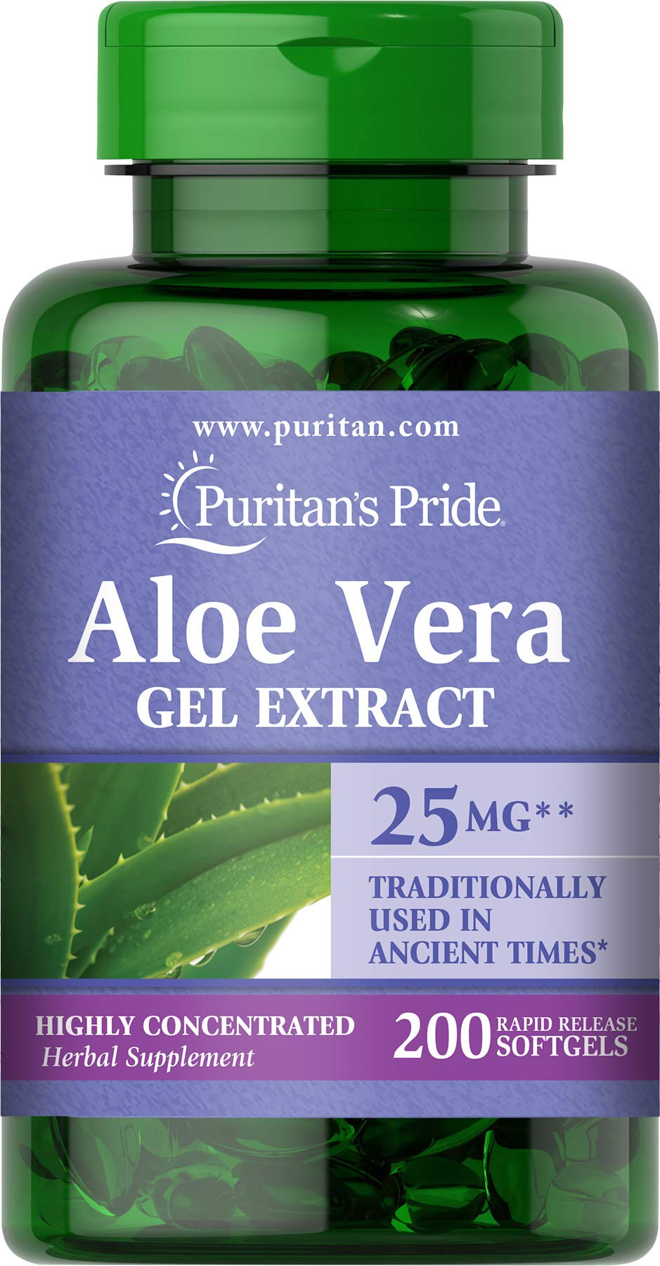 Puritans Pride Aloe Vera Extract 5000 Mg Softgels, 200 Count (Packaging may vary)