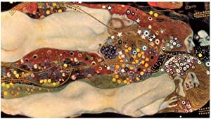 """Alonline Art - Water Serpents Snakes by Gustav Klimt 