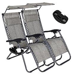 Artist Hand Zero Gravity Chair with Sunshade Canopy - Set of 2