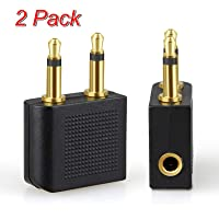 TERSELY Airplane Headphone Audio Adapter, [2 Pack] for Audio Jack to Plug Air Plane Flight Connector Dual Socket Headphone Audio Jack Male,Earphone Adaptor 3.5 mm 1/8 inch Fits Bose Beats