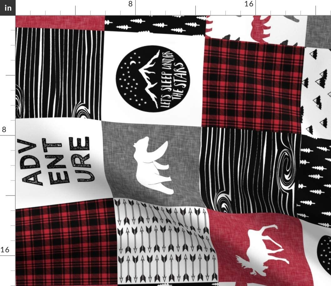 Spoonflower Fabric - Lumberjack, Camping, Woodland, Red Black White, Nursery, Cheater Quilt Printed on Petal Signature Cotton Fabric by The Yard - Sewing Quilting Apparel Crafts Decor
