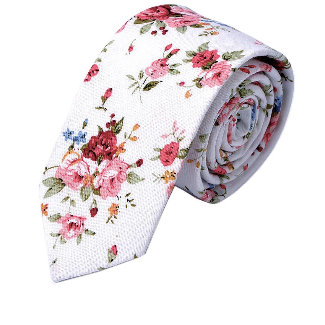 JESLANG Men's Cotton Printed Floral Neck Tie 2.56'' Narrow Ties Various Designs
