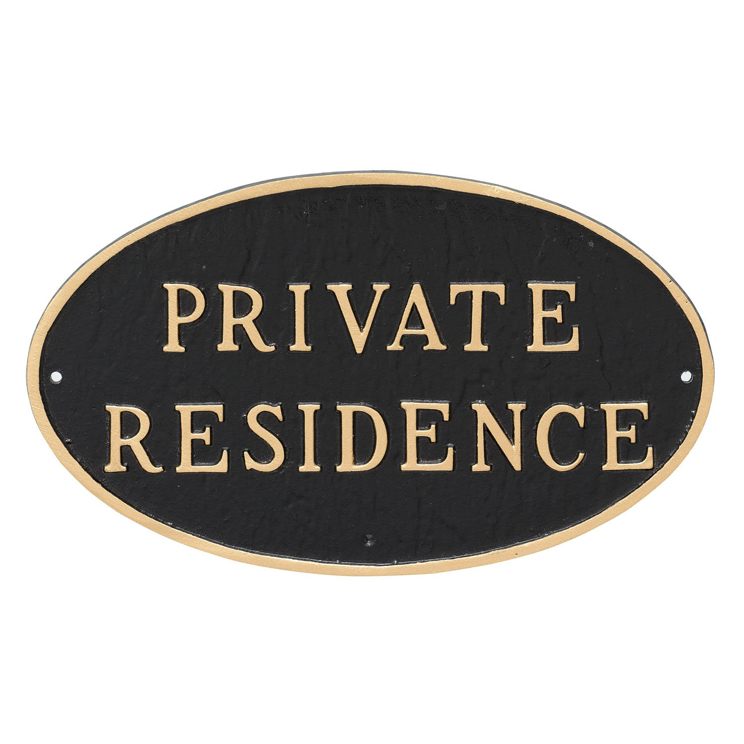 Montague Metal Products Oval Private Residence Statement Plaque Sign, Black with Gold Lettering, 6'' x 10''