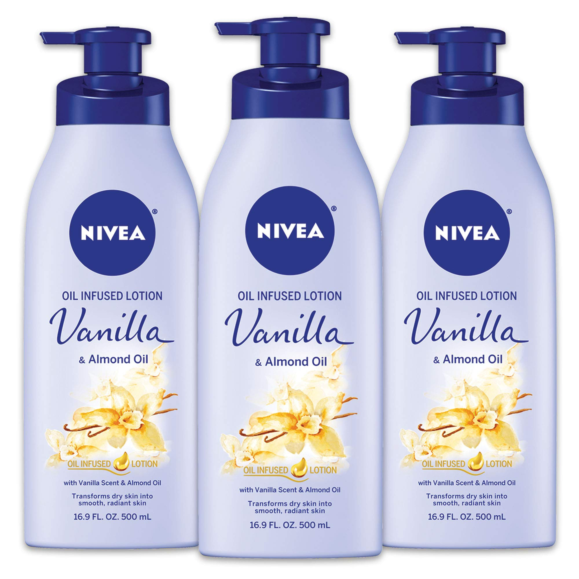 NIVEA Vanilla and Almond Oil Infused Body Lotion - Fast Absorbing 24 Hour Moisture for Dry Skin - 16.9 Oz. (Pack of 3) by Nivea