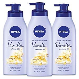 NIVEA Vanilla and Almond Oil Infused Body Lotion - Fast Absorbing 24 Hour Moisture for Dry Skin - 16.9 fl. oz. Pump Bottle (Pack of 3)