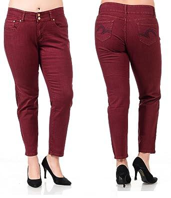 4e5a712cdce 1826 Jeans holystone Womens Plus Size Burgundy Denim Jeans Stretch Slim Fit  Pants (14-