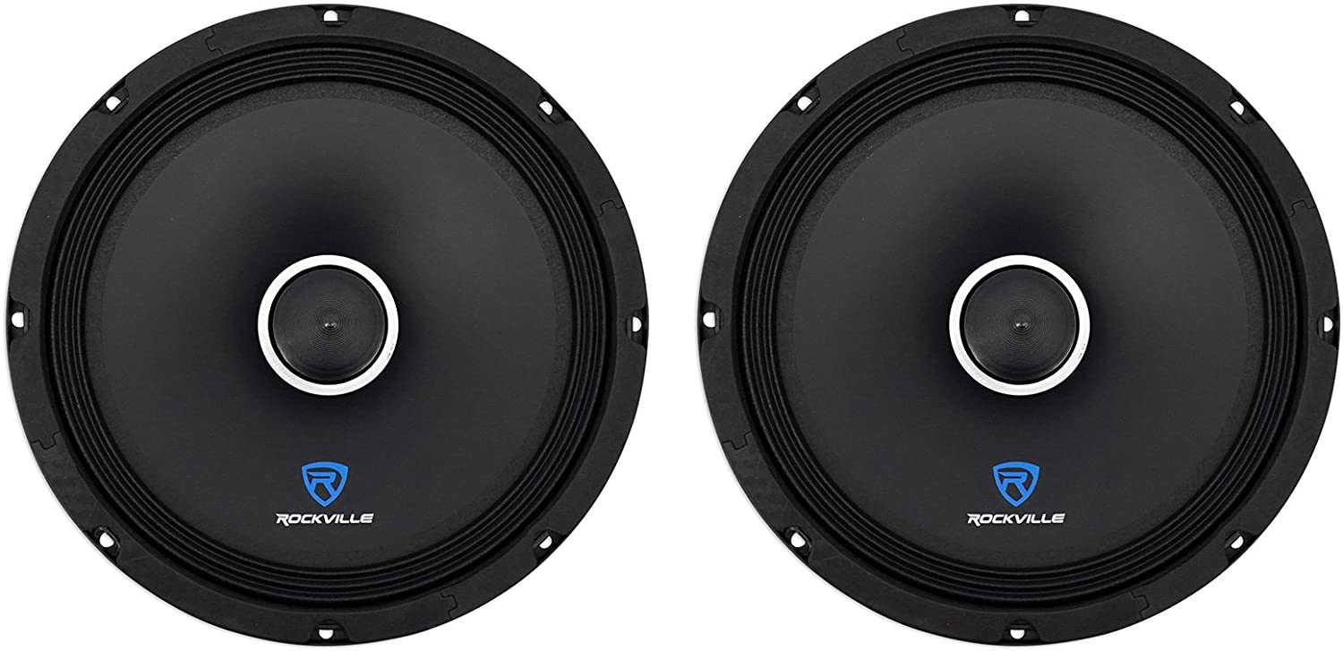 "(2) Rockville RXM108 10"" 1200w 8-Ohm SPL Car Midrange Mid-Bass Speakers w/Bullet"