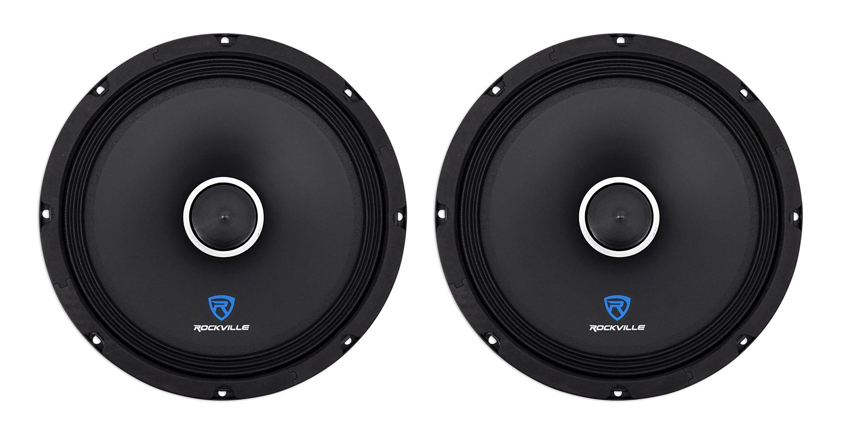 (2) Rockville RXM108 10'' 1200w 8-Ohm SPL Car Midrange Mid-Bass Speakers w/Bullet