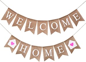 Welcome Home Banner Burlap Sign–Rustic Vintage Inspired Party Buntings for Welcome Party,Great for Baby Shower,Wedding Celebration,Mantle,Home Party Decor,No DIY Required (2 PCAK Welcome Home Banner)