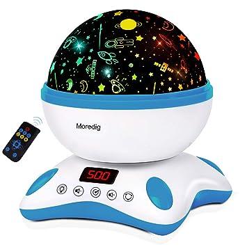 Moredig Música Lampara Proyector Estrellas Bebé, 360° Rotación con Control Remoto, Romántica 8 Color Luz Nocturna Infantil, Regalo para Niños ...