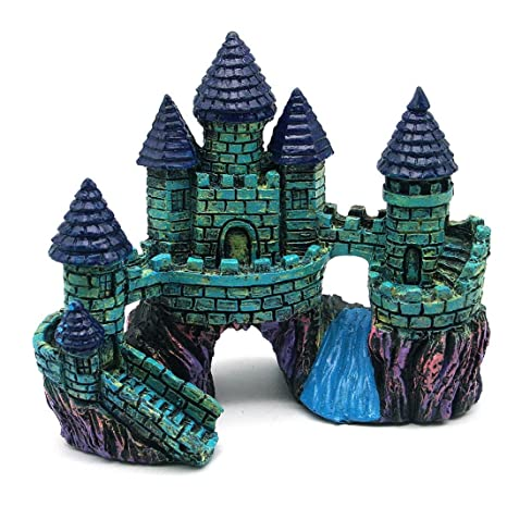 Adorno de Acuario, Acuarios de castillo, castillo de resina de dibujos animados decoración acuario