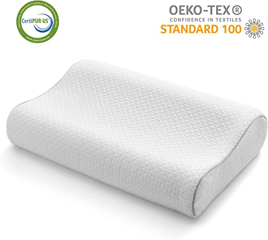 BAMBOO CONTOUR PILLOW MEMORY FOAM ORTHOPEADIC NECK SUPPORT PILLOW TWO SIZES