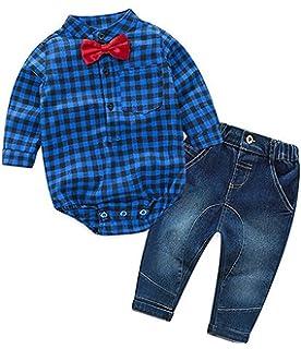 f084960146e6 Boys Clothing Set Cotton Lattice Shirt Pants Infant Jeans Jumpsuit Baby  Romper