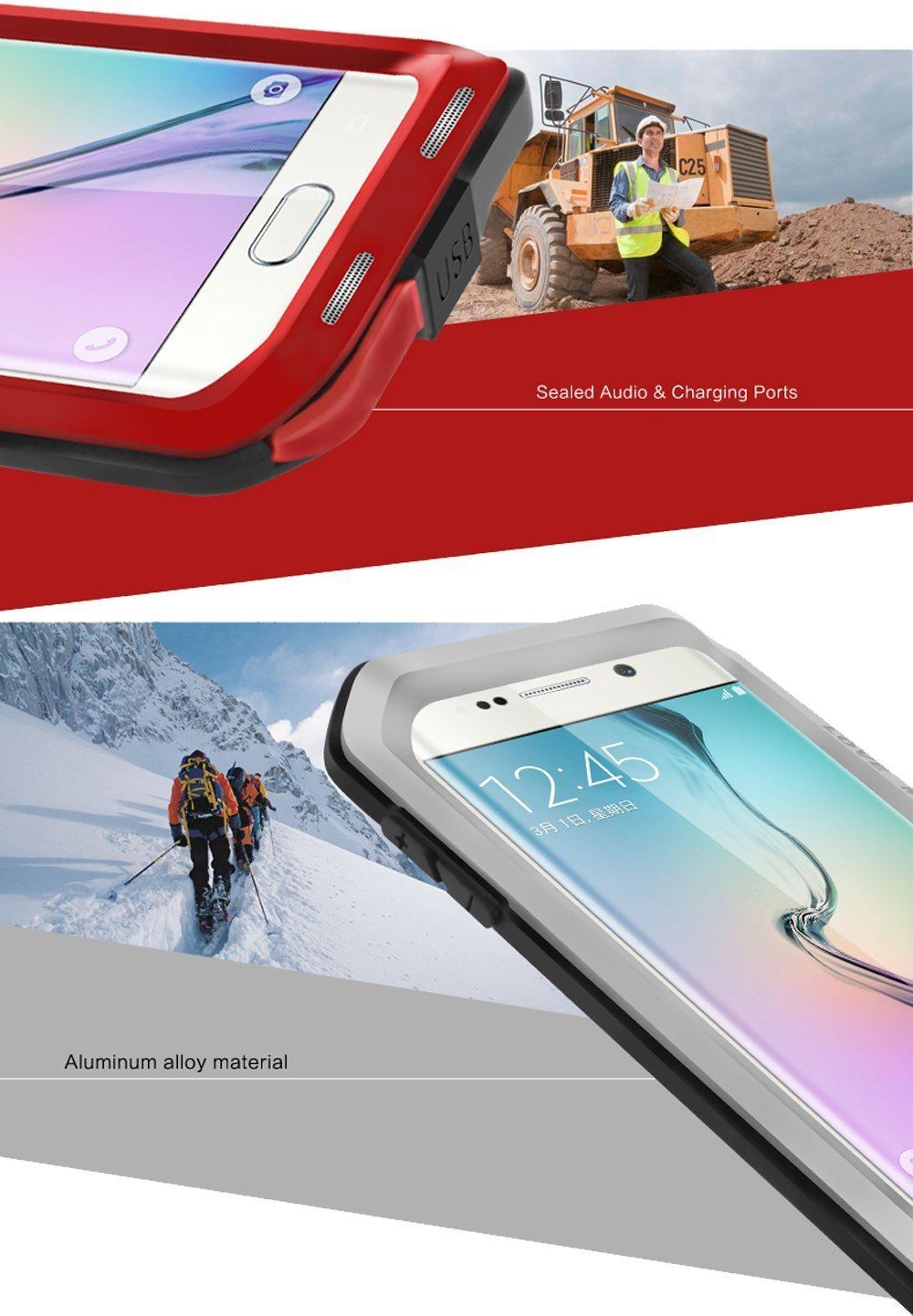 Galaxy S6 Edge Case Hm Ant Love Mei Aluminum Silicone Lifeproof Samsung Fre 77 51242 Black Impact Protection Waterproof Shockproof Rugged Waist Metal Cover For