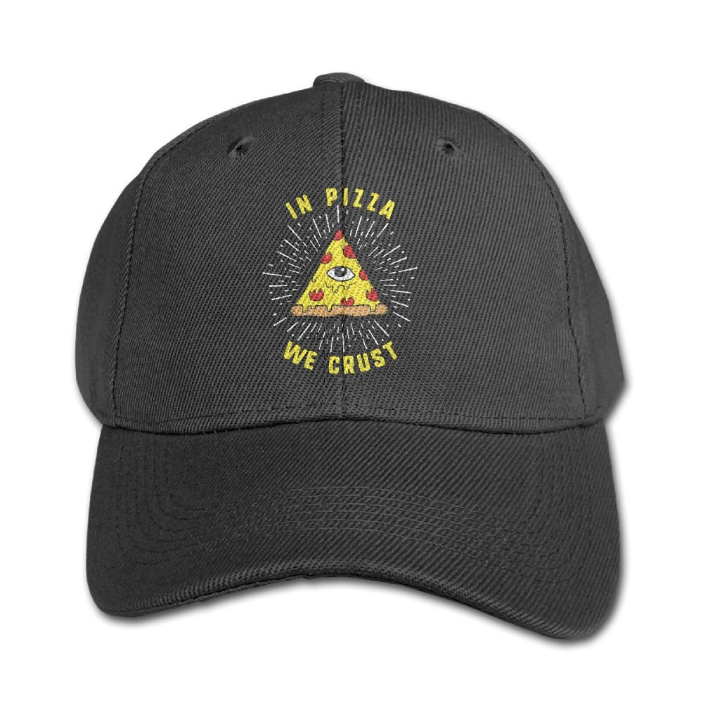 Haibaba in Pizza We Crust Boys and Girls Black Baseball Caps Solid Hats