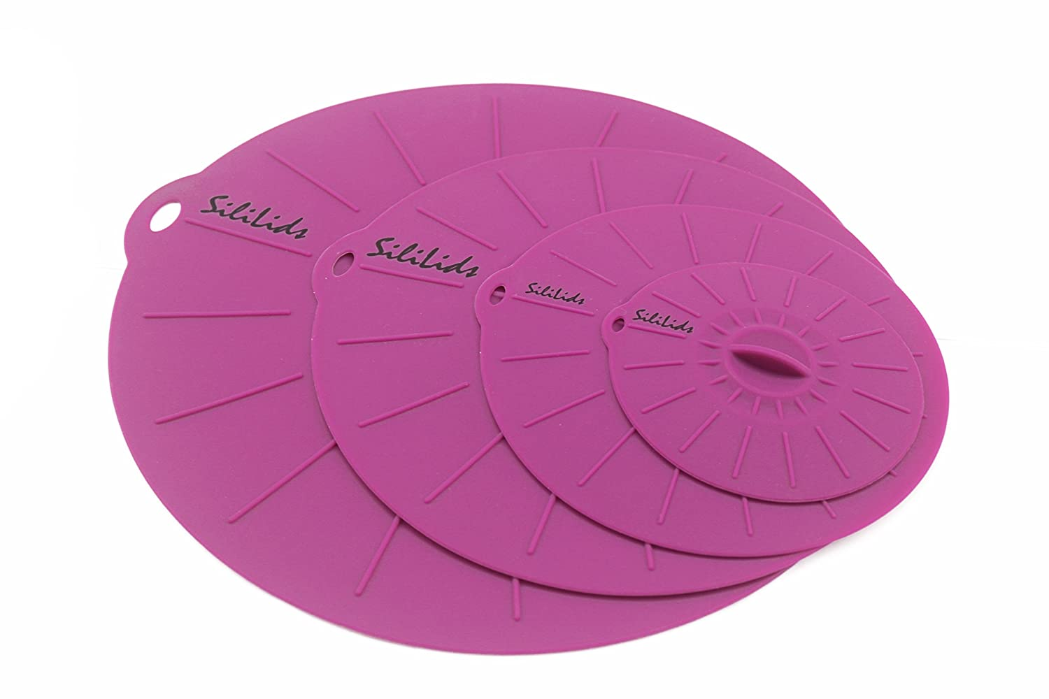 """Microwavable Silicone Sealing Lids, by Sililids. Pure Silicone BPA Free Plastic Alternative for Food Storage & Oil Splatter Protection. Dishwasher Safe. Set of 4: 4"""", 6"""", 8"""", 10"""""""
