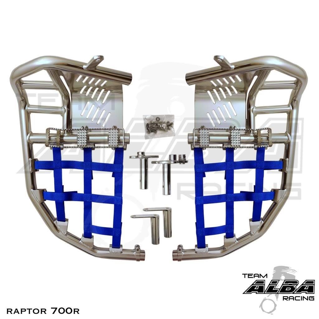 Yamaha Raptor 700 Raptor 700R YFM 700 (2013-2017) Propeg Nerf Bars Silver Bars w/ Blue Net