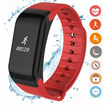 Coolfoxx Smart Watch Montre Connectée, Bracelet étanche avec fréquence cardiaque, Podomètre, Moniteur de