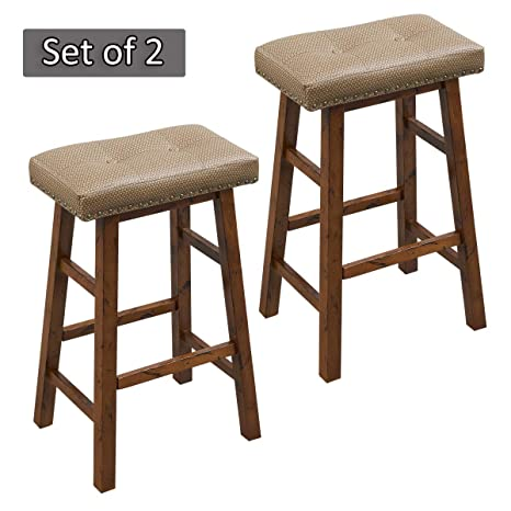 Enjoyable Ok Furniture 30 Inch Bar Height Stool Set Wood Saddle Seat Stool Chair With Upholstered Pack Of 2 Theyellowbook Wood Chair Design Ideas Theyellowbookinfo