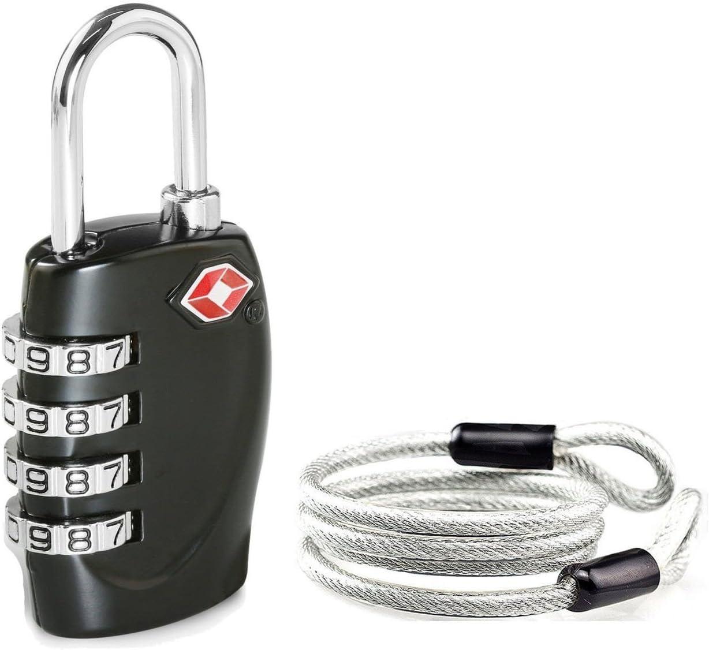 Aspen 4 Dígitos Combinación TSA Candado Más Alta Seguridad TSA Luggege Bloqueo con Cable de Acero para el Viaje Equipaje Maleta (Negro)