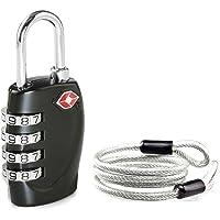 Aspen 4 Dígitos Combinación TSA Candado Más Alta Seguridad TSA Luggege Bloqueo con Cable de Acero para el Viaje Equipaje…