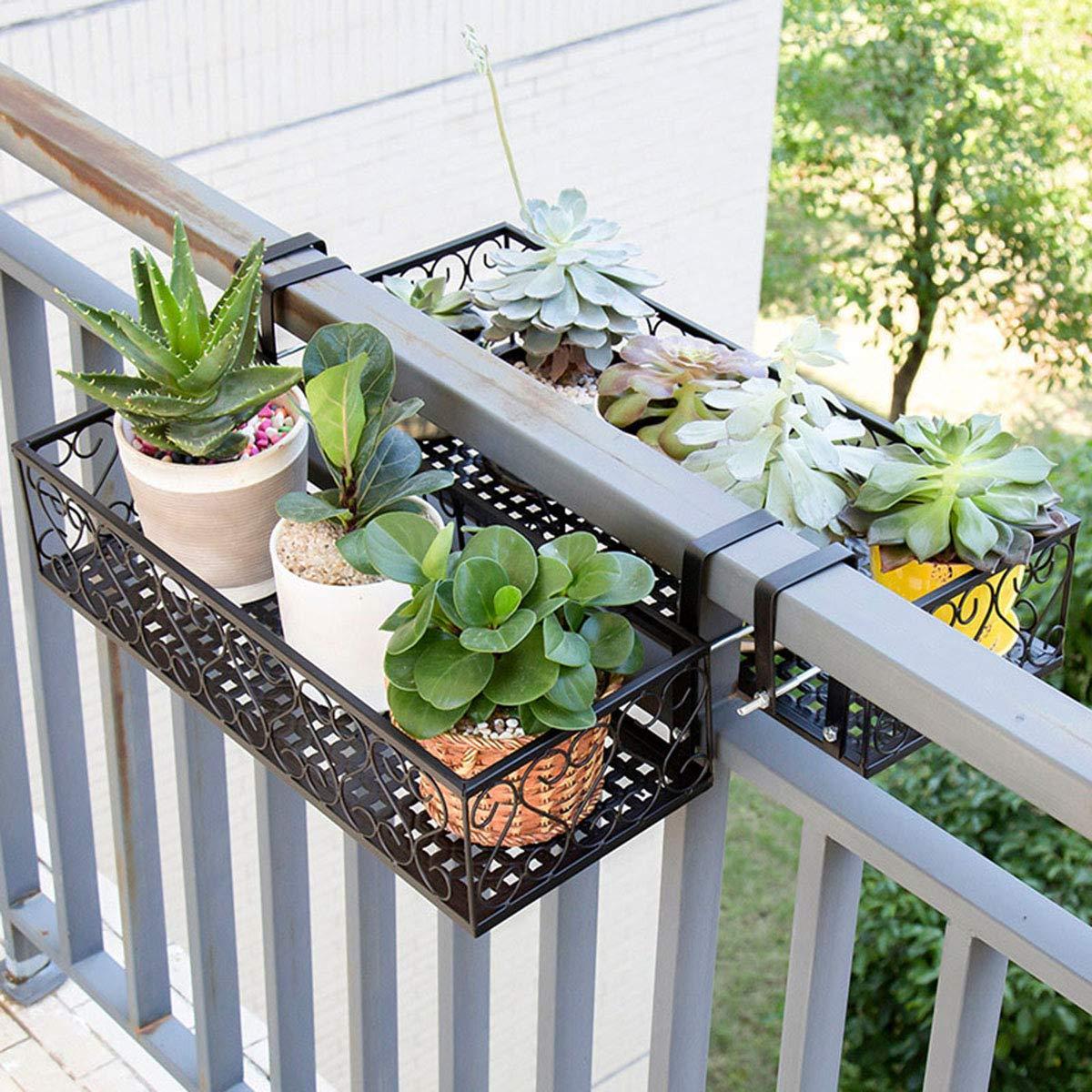 GLXQIJ 2Pcs Pianta Stand Balcone Appeso Fiore Stand Scaffale di Ferro Scaffale in Metallo Scaffale di Stoccaggio, per La Casa Giardino Esterno Decorazione