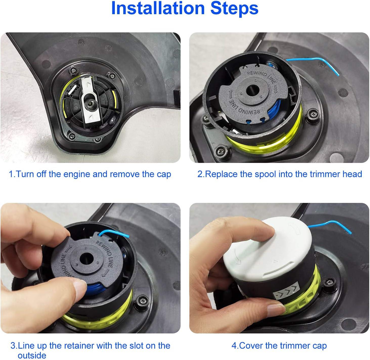 6 Replacement Spool, 1 Spool Cap Deyard String Trimmer Spool ...