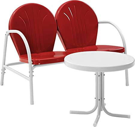 Red Crosley Furniture Griffith Metal Outdoor Chair