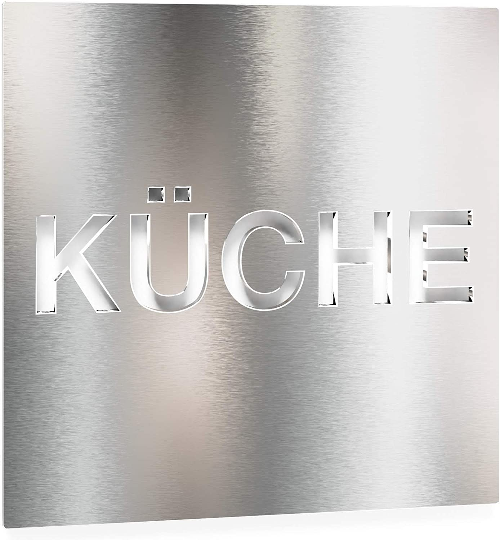 claramente Visible y Montaje sin Herramientas Placa de Aviso autoadhesiva INOXSIGN Placa de Aviso de Acero Inoxidable K/ÜCHE H.63.E Fabricado en Alemania