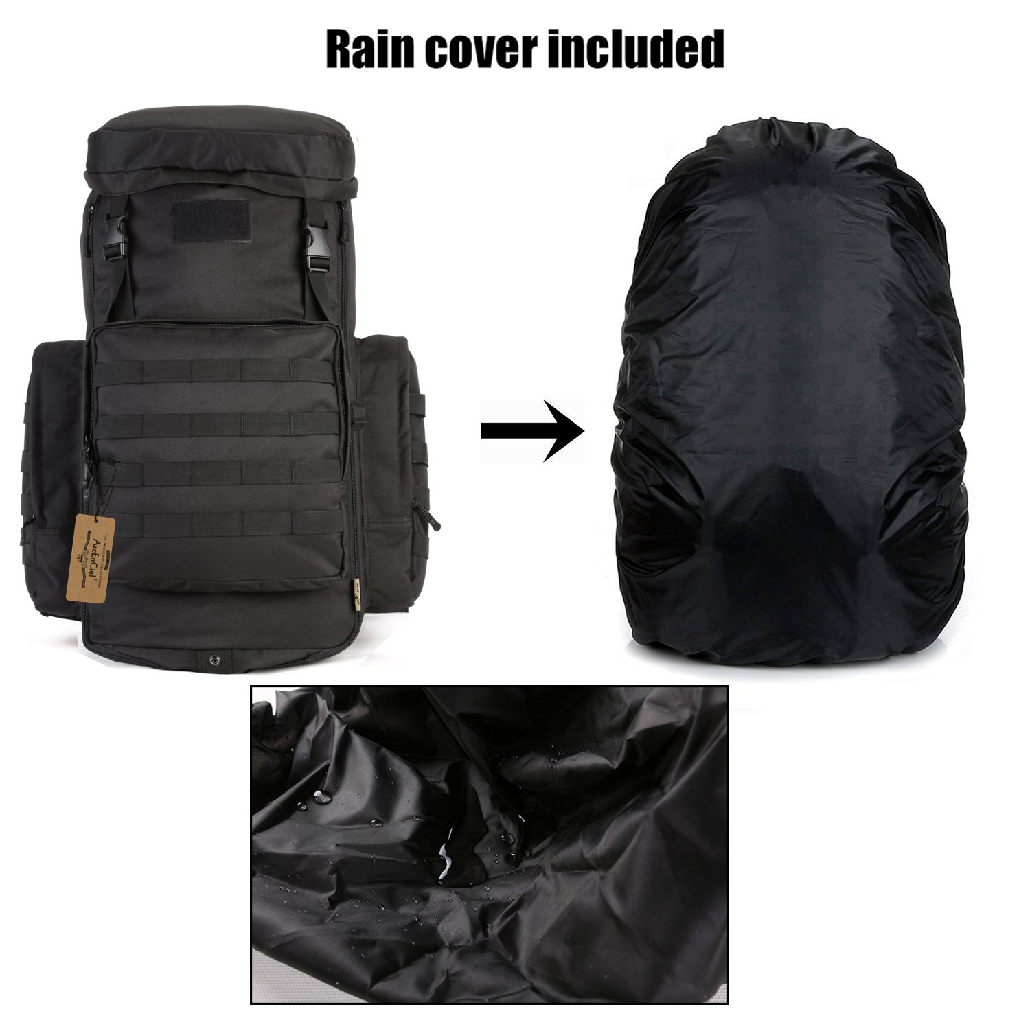 ArcEnCiel 70-85L Large Capacity Tactical Travel Backpack MOLLE Rucksack Outdoor Travel Bag for Travelling Trekking Camping Hiking Hunting -Rain Cover Included (Black) by ArcEnCiel (Image #5)
