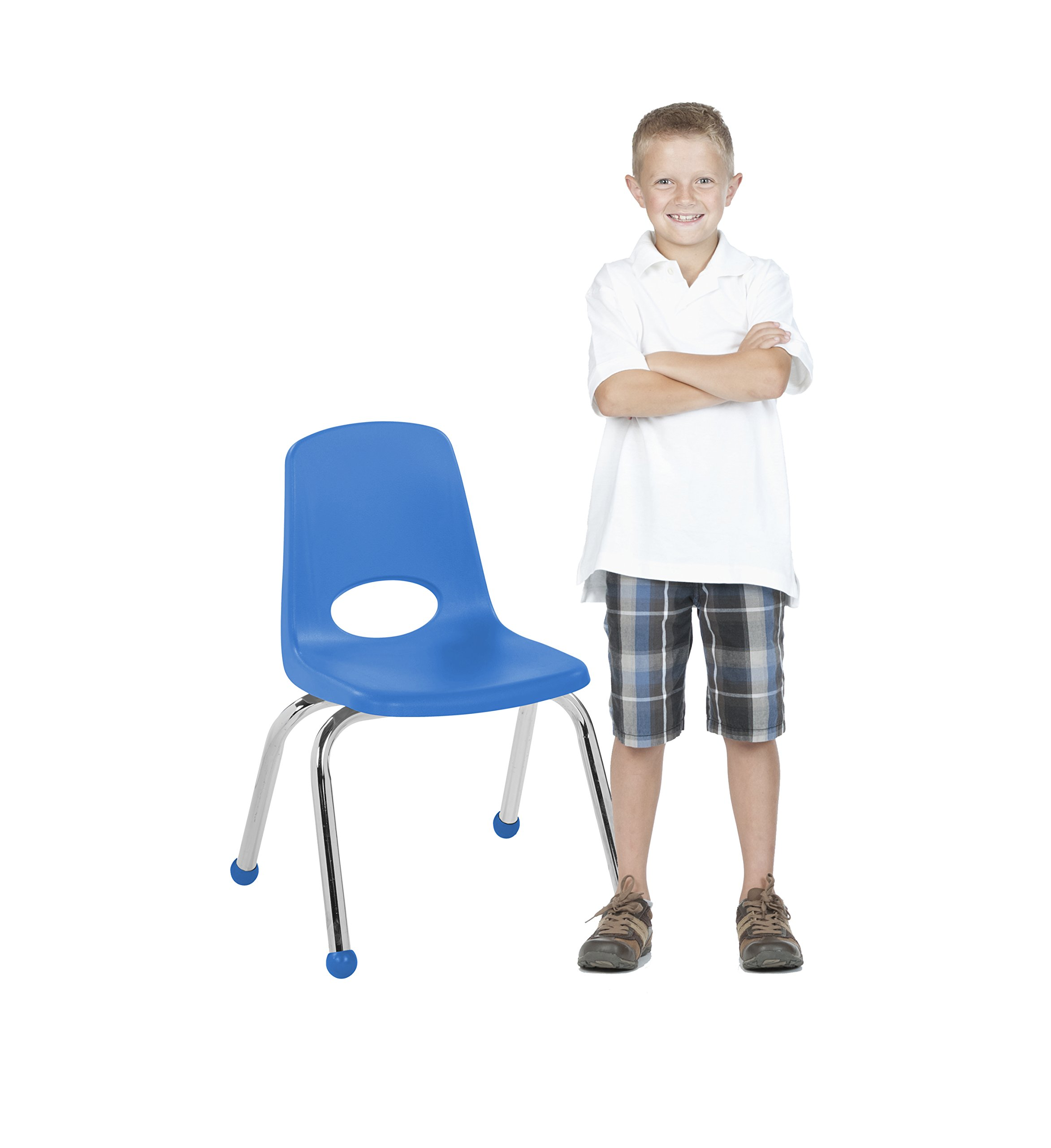 ECR4Kids 12'' School Stack Chair, Chrome Legs with Ball Glides, Blue (6-Pack) by ECR4Kids (Image #5)