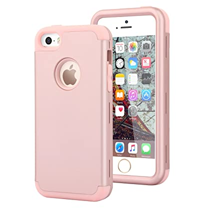 newest 1d4d9 e2b37 Dailylux iPhone 5S Case,iPhone SE Case, iPhone 5 Case 3in1 Hybrid Full Body  Impact Resistant Shockproof PC+Soft Silicone Bumper Cover for Apple iPhone  ...