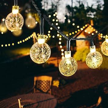 Weihnachtsbeleuchtung Kugel Aussen.Led Solar Lichterkette Iegeek Weihnachtsbeleuchtung Beleuchtung Außen Mit Led Kugel 50 Led 8 Modi Lichtsensor Warmweiß Für Party Weihnachten
