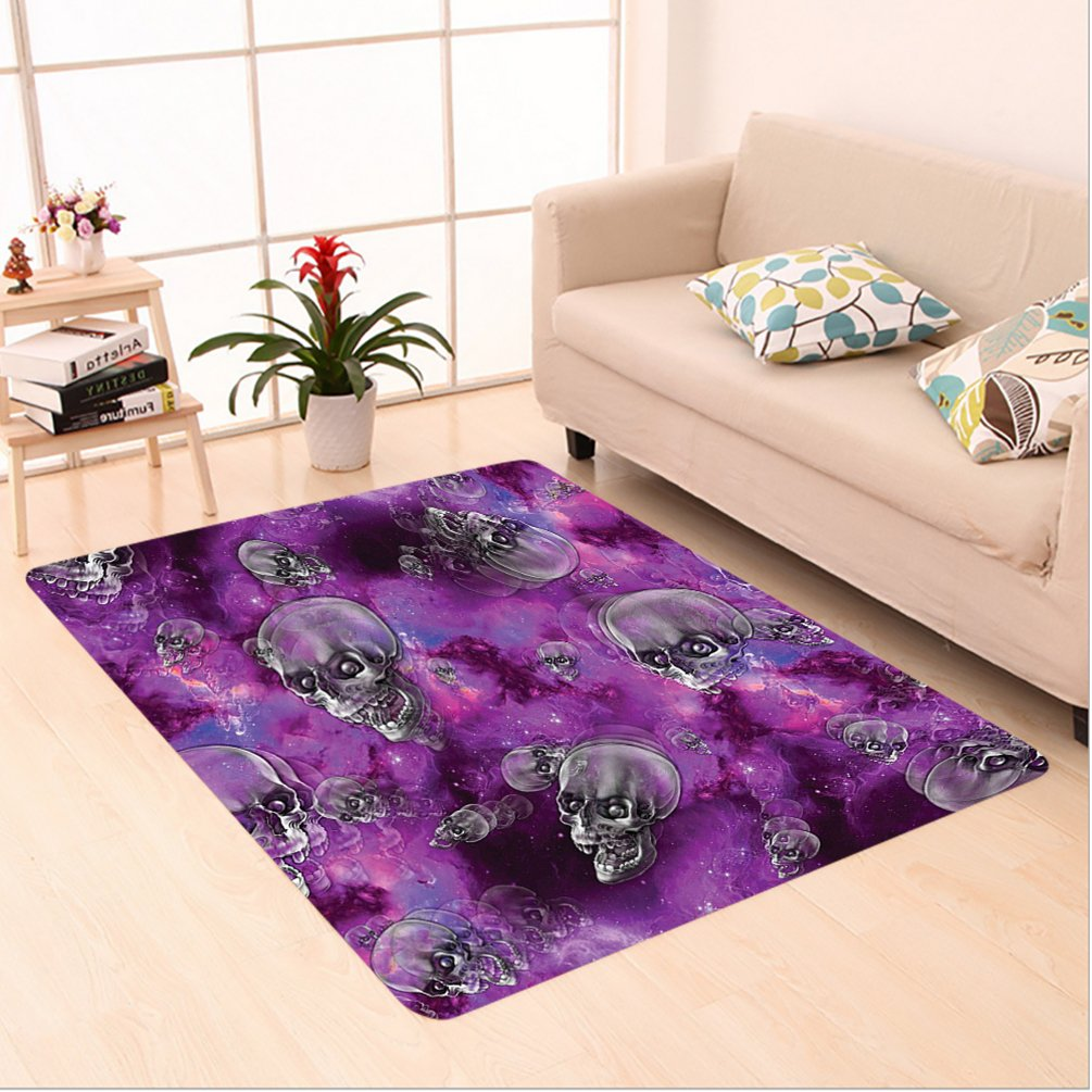 Nalahome Custom carpet ull Decor Horror Movie Themed Flying Skull Heads Halloween in Outer Space Image Black and Purple area rugs for Living Dining Room Bedroom Hallway Office Carpet (6.5' X 10')