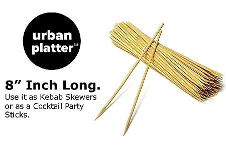 Urban Platter 8 Inch Long Bamboo Cocktail Sticks Skewers, 100 Sticks
