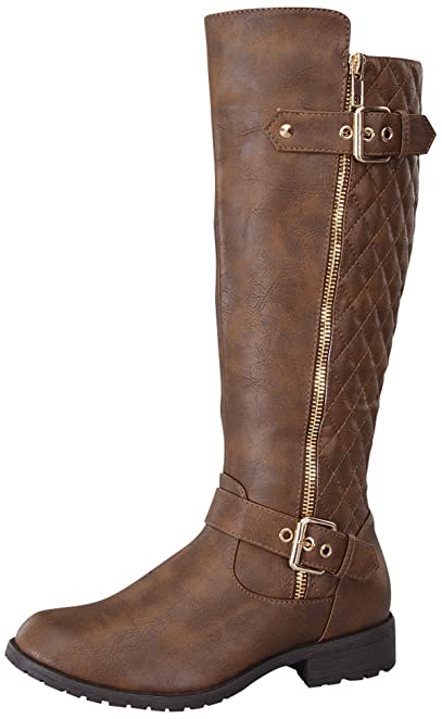 Amazon.com   Top Moda Women's Bally-32 Knee High Quilted Leather ... : quilted brown boots - Adamdwight.com
