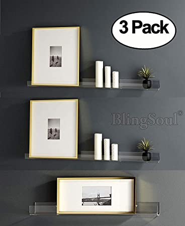 new style 8a07c 8be1a 3 Pack Clear Floating Shelf - 15 Inches Acrylic Bathroom Shelves, Shower  Caddy, Bedside Shelf, Nail Polish Women Makeup Organizer, Spice Rack Kids  ...